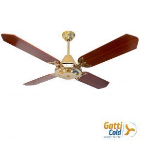 GattiCold Ventilador de techo lujo en dorado y madera